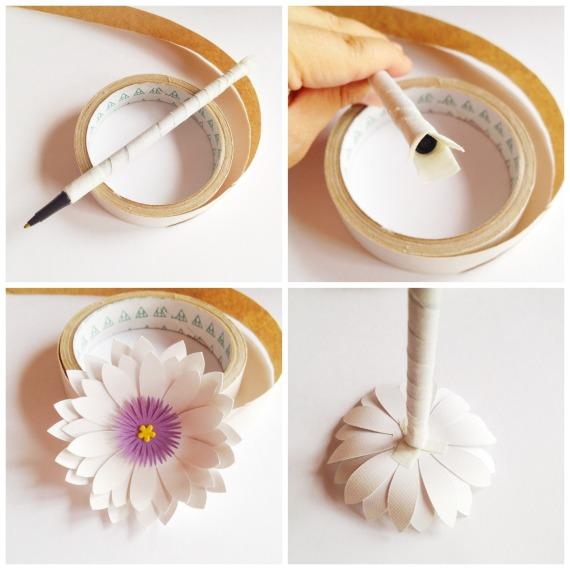 3D Paper Flower Pen by Helen Gullett | http://wp.me/p1wKGj-1i6 | #diy #papercraft #silhouetteamerica #silhouettecameo #loriwhitlock #giftidea